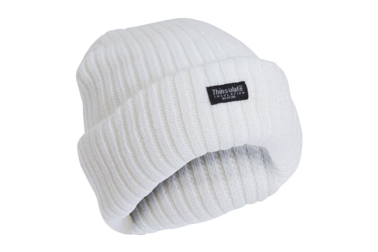 FLOSO Ladies/Womens Chunky Knit Thermal Thinsulate Winter/Ski Hat (3M 40g) (Snow White) (One Size)