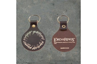 Lord of the Rings Leather `One Ring` Inscription Keyring | MeniscusNZ