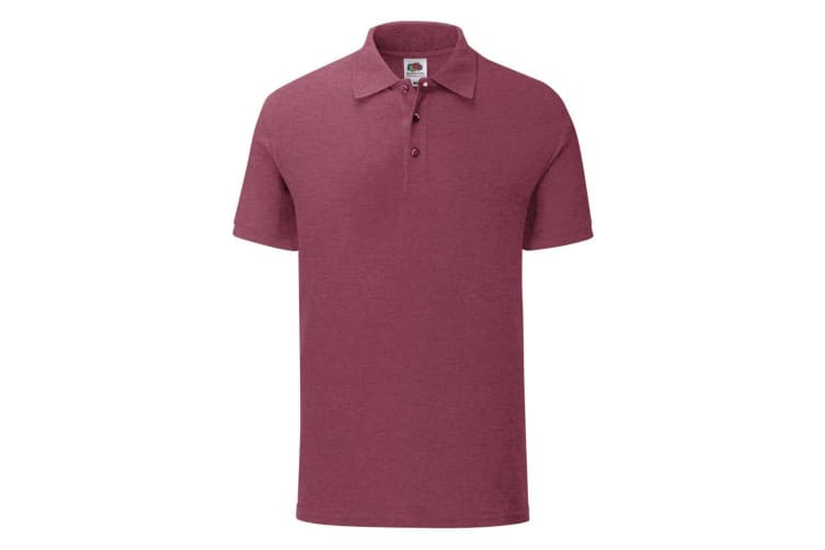Fruit Of The Loom Mens Iconic Pique Polo Shirt (Heather Burgundy) (M)