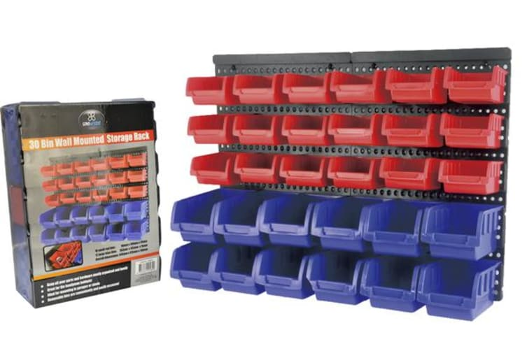 30 Tool Small Parts Storage Bins Wall Mounted Shelving Organiser Box Rack Garage