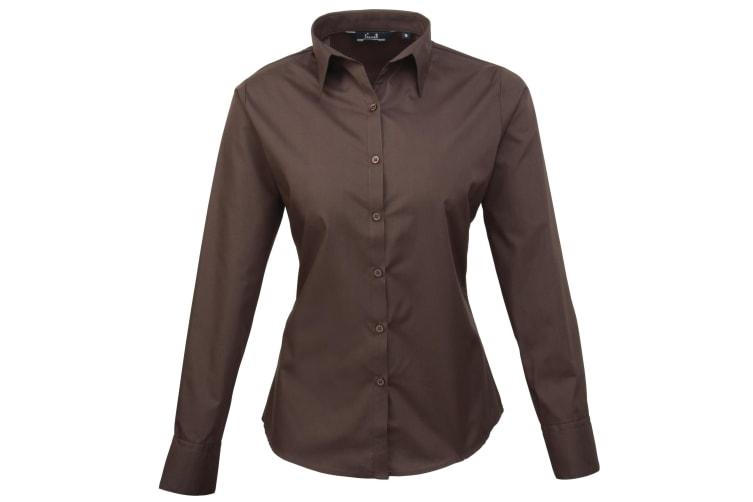 Premier Womens/Ladies Poplin Long Sleeve Blouse / Plain Work Shirt (Brown) (16)
