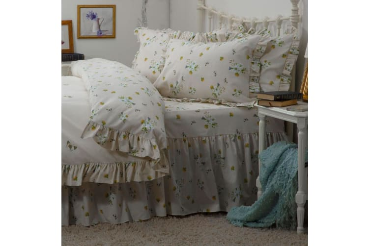 Belledorm Bluebell Meadow Fitted Valance (Ivory) (Kingsize)