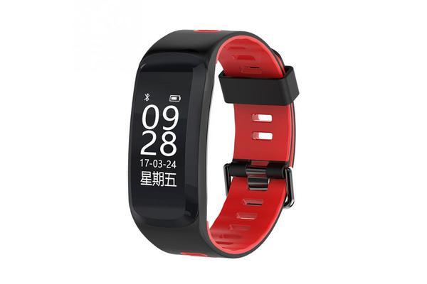 "Bluetooth V4.0 Smart Watch Heart Rate Blood Oxygen Gps Ip68 0.96"" Oled - Red"