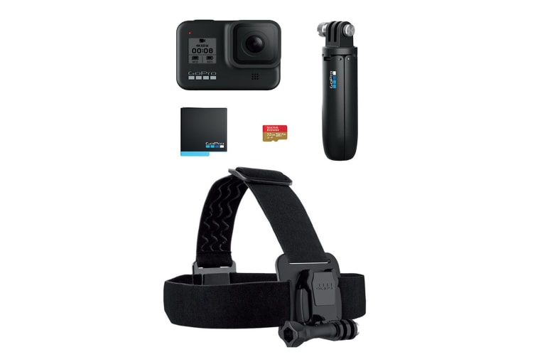 GoPro HERO8 Black with 32GB SD Card, Extra Battery, Shorty Mount & Head Strap (CHDHX-801)