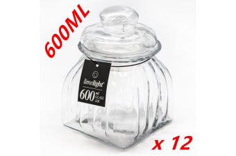 12 x Small Apothecary Jars 600ml Clear Glass Canister Wedding Honey Storage Jar