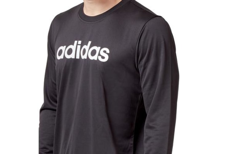 Adidas Men's Logo Long Sleeve Tee (Black, Size M)