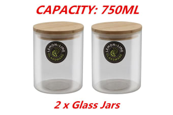2 x Food Storage Jar Glass Jars 750ML Canister Container Wooden Lid Tube Tubs