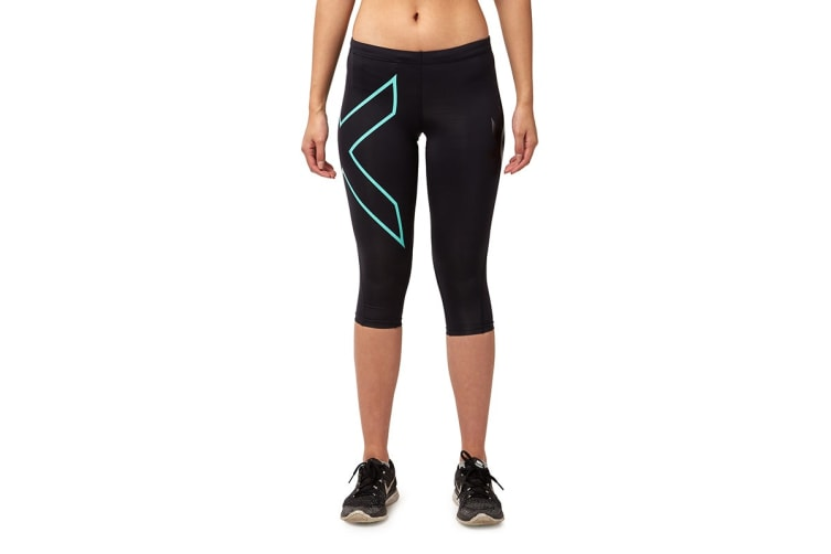2XU Women's 3/4 Compression Tights G1 (Black/Ice Green, Size XS)