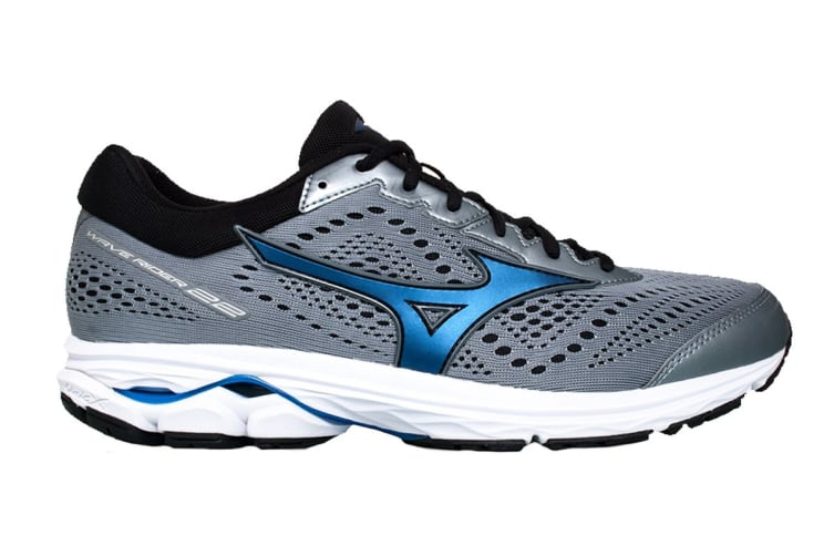 Mizuno Men's Wave Rider 22 (2E) (Monument/Blue/Black, Size 9 US)