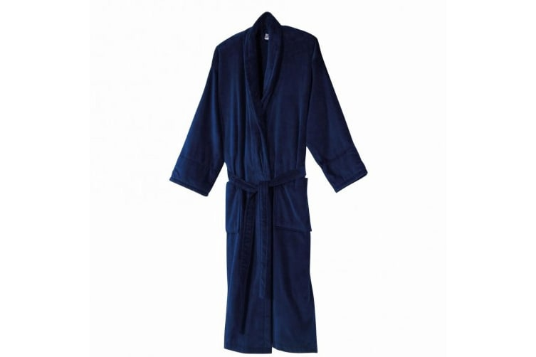 Jassz Velour Outer Towel Bath Robe (360 GSM) (Navy Blue) (M)