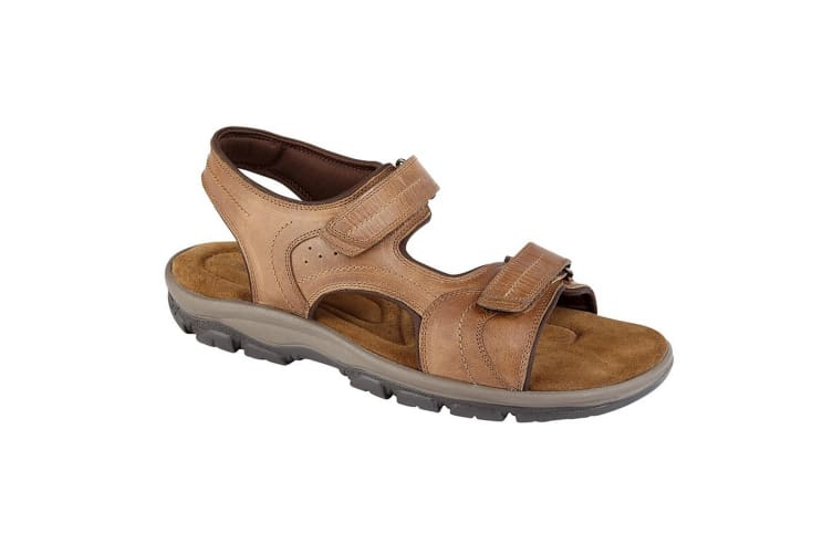 Roamers Mens Leather Twin Touch Fastening Sandal (Tan) (12 UK)