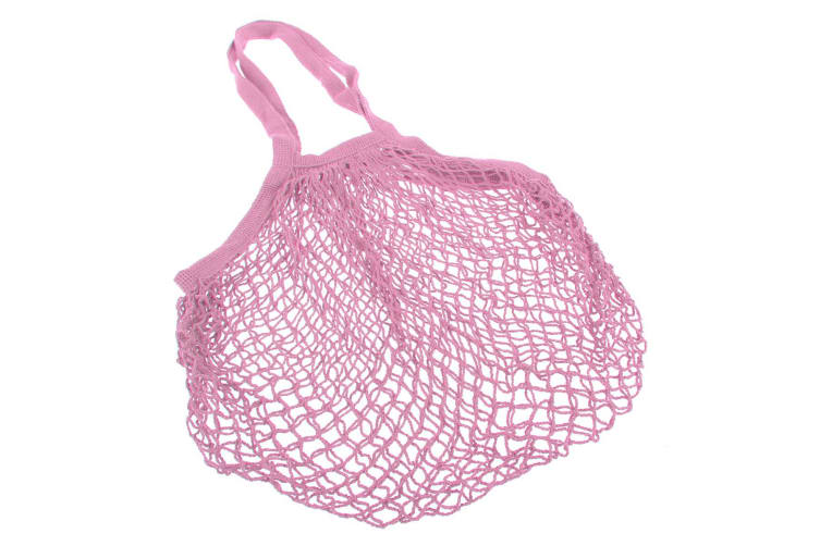Appetito Cotton String Shopping Bag - Long Or Short Handles-long Handle Pink