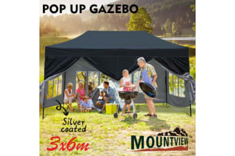 Mountview 3x6M Gazebo Outdoor Pop Up Tent Folding Marquee Camping Canopy Black  -  Black