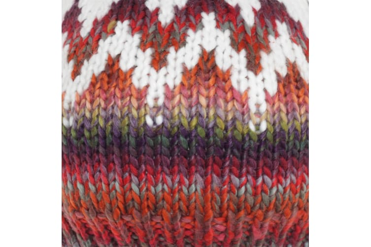 Hawkins Collection Womens/Ladies Knitted Bobble Tam Hat (Red/White) (One Size)
