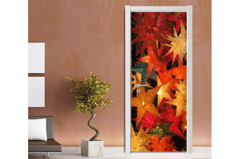3D Christmas Xmas Bright Leaves 4 Door Mural Self-adhesive Vinyl