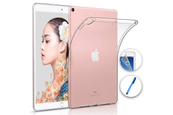 """Apple iPad Air 10.5"""" (2019) Crystal Clear Transparent Ultra Slim Soft TPU Gel Back Case by MEZON – With Screen Protector and Stylus (iPad Air 10.5"""", Gel)"""