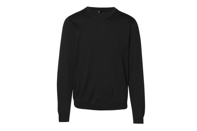ID Mens Fitted Knitted V-Neck Pullover Sweatshirt/Jumper (Black) (M)