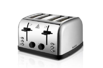 Maxim Stainless Steel 4 Slice Automatic Toaster Extra Wide Slots