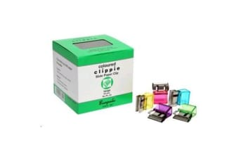 Clippie Slide Paper Clips - Large Coloured - Box of 50