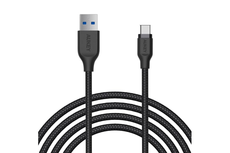 AUKEY USB-C to USB 3.0 Type-C Charging Cable Nylon Braided Samsung(6.6ft/2m) NEW