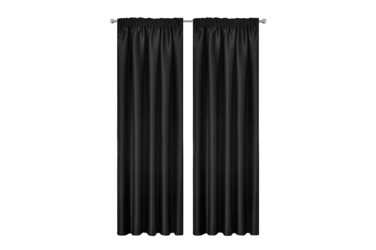 Art Queen 2x Pinch Pleat Blockout Curtains Blackout Room Darkening 180x230cm BK