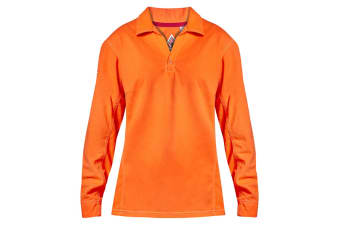 Hard Yakka Women's Bulwark iQ Flame Resistant Hi-Vis Long Sleeve Polo (Orange, Size M)
