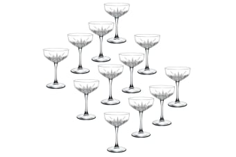 12pc Pasabahce Timeless 255ml Clear Champagne Cocktail Saucer Coupe Glasses