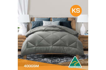 King Single Size Aus Made All Season Soft Bamboo Blend Quilt Grey Cover
