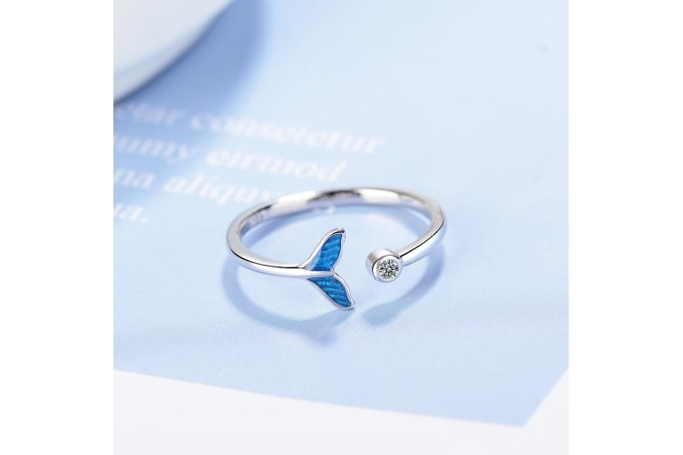 Fantasy Mermaid Fishtail with Clear Created Diamond Ring