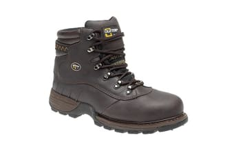 Grafters Mens Safety Hiker Type Toe Cap Waxy Leather Boots (Brown Crazy Horse) (7 UK)