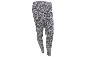 Womens/Ladies Thermal Floral Mosaic Pattern Long Janes (Black/White)