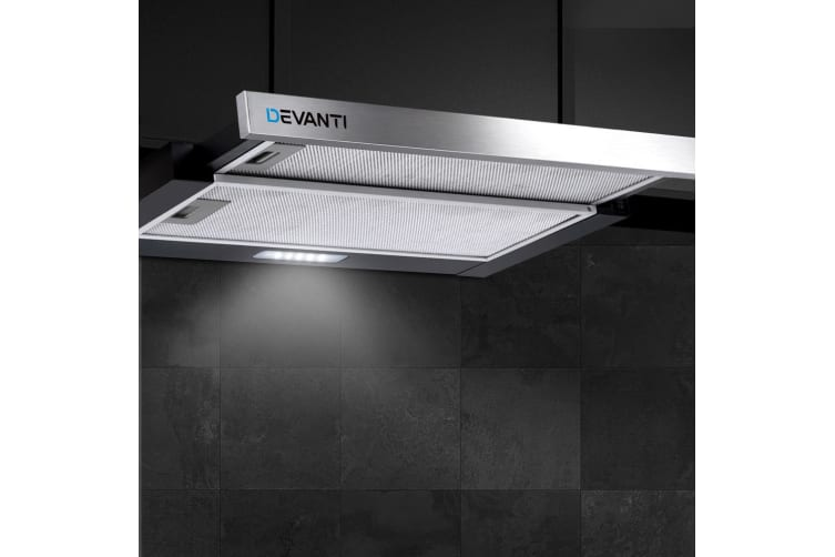 Devanti Rangehood Range Hood Stainless Steel Kitchen Canopy 60cm 600mm Black