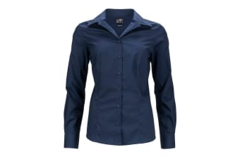James and Nicholson Womens/Ladies Longsleeve Business Shirt (Navy) (XL)