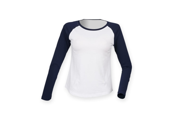 Skinnifit Womens/Ladies Long Sleeve Baseball T-Shirt (White / Oxford Navy) (S)