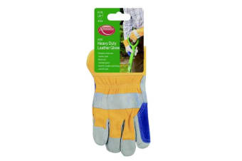Ambassador Deluxe Unisex Heavy Duty Leather Gloves (Yellow/Blue)