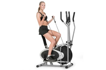 2-in-1 Elliptical cross trainer and exercise bike with resistance bands