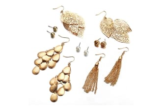 6Pcs Artificial Pearl Earrings With Hollow Leaves And Woven Earrings Gold
