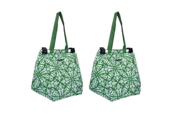 2PK Sachi Shopping Reusable Toggle Grocery Hand Bag f  Cart Trolley Bohemian GRN