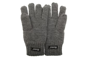 FLOSO Childrens Unisex Knitted Thermal Thinsulate Gloves (3M 40g) (Grey)