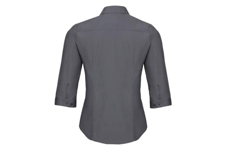 Russell Collection Ladies 3/4 Sleeve Poly-Cotton Easy Care Fitted Poplin Shirt (Convoy Grey) (S)