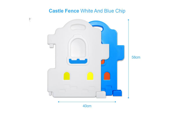 ABST 18-Sided Kids Play Pen Colorful Castle-shaped Baby Playpen with Game Panel & Basketball Set
