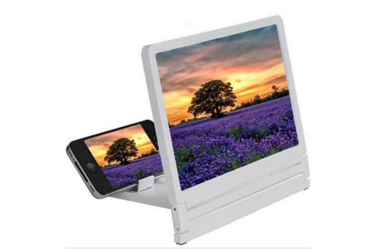 Select Mall 3D Mobile Phone Holder Magnifier Screen Amplifier Protect Eye HD Video Magnifier-White