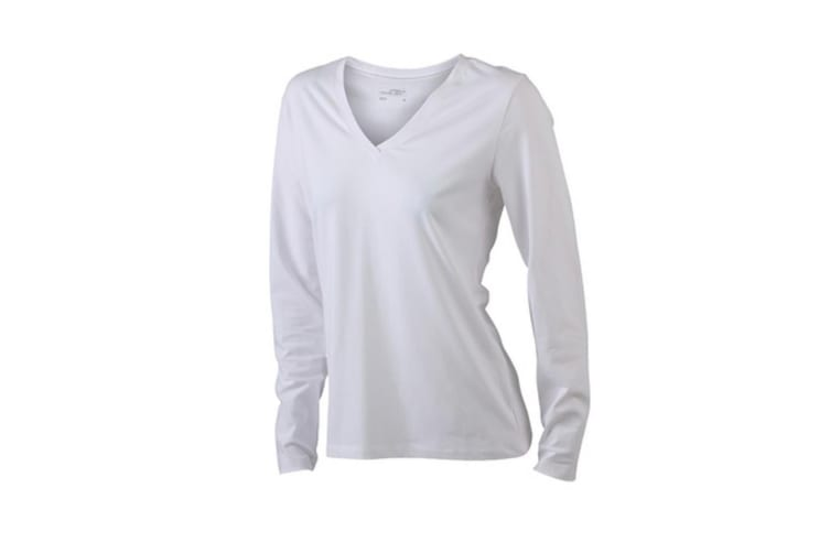James and Nicholson Womens/Ladies Stretch V-Neck Long-Sleeved Shirt (White) (L)
