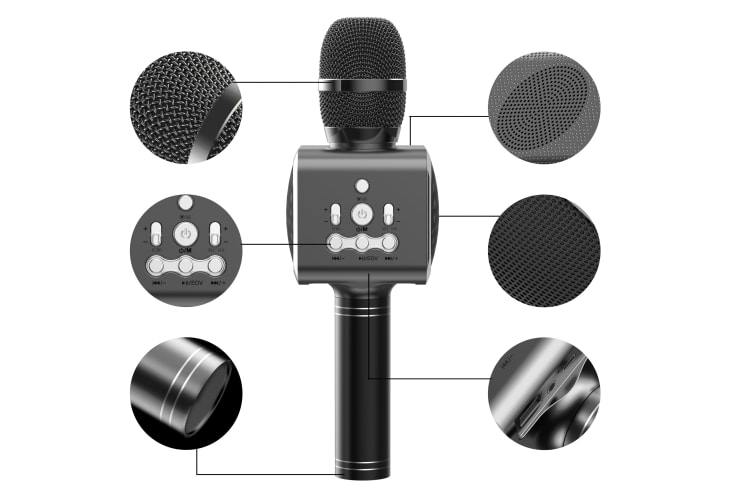 Kogan Bluetooth Karaoke Microphone with Built-in Speaker and LED (Black)