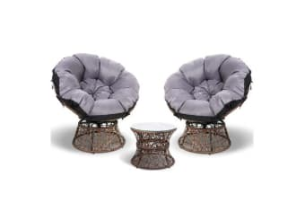 Garden Papasan Chair and Side Table Set- (Black)
