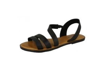 Leather Collection Womens/Ladies Strap Slingback Mule Sandals (Black)
