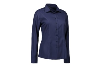 ID Womens/Ladies Easy Iron Modern Fit Button Down Shirt (Navy) (L)