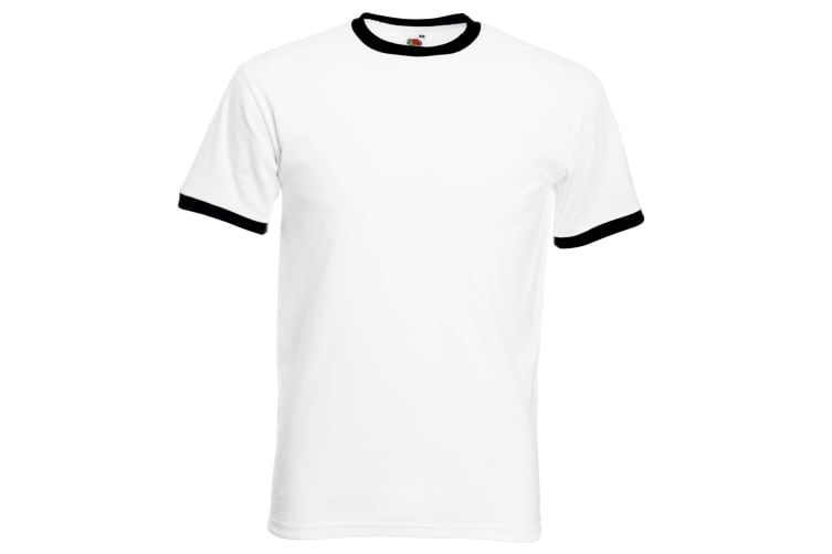 Fruit Of The Loom Mens Ringer Short Sleeve T-Shirt (White/Black) (3XL)
