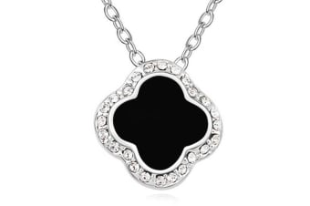 Clover Pendant Necklace Embellished with Crystals from Swarovski -BLK