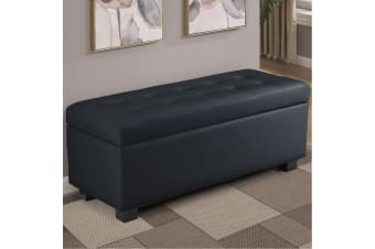 Large Ottoman Faux Leather Storage Box Footstool Chest - Black